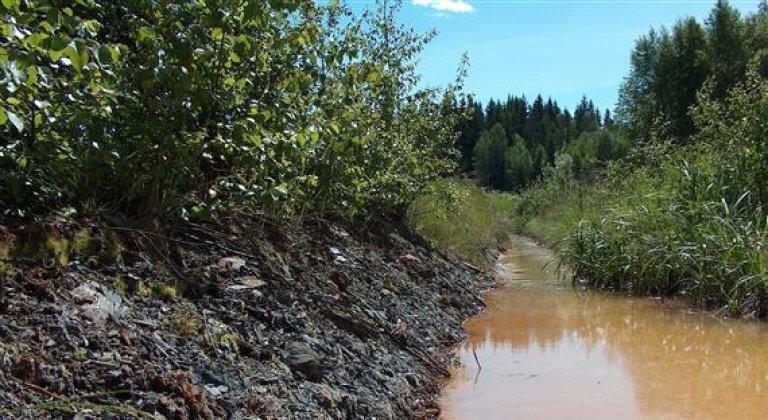 Bildet viser en elv omkranset av alunskifer.